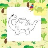 Página bonito da coloração de Dino dos desenhos animados Fotografia de Stock Royalty Free