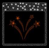 Página brillante de Mesh Wire Frame Fireworks Calendar con los puntos de la llamarada ilustración del vector
