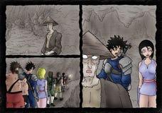 Página cômica da cena da caverna Foto de Stock