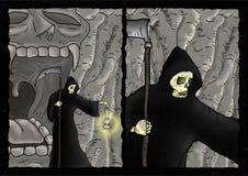 Página cômica de esqueleto do medo ilustração stock