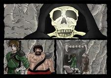 Página cômica de esqueleto do medo ilustração royalty free