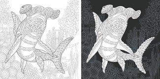 Página colorindo com o tubarão da cabeça de martelo ilustração do vetor