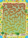 A página com exercícios para crianças - labirinto - labirynth - exploração agrícola - ilustração para as crianças Fotos de Stock