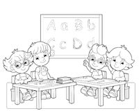 A página com exercícios para crianças - livro para colorir - ilustração para as crianças Fotografia de Stock Royalty Free