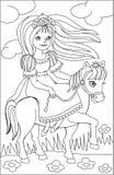 Página con el dibujo blanco y negro de la princesa del montar a caballo para colorear Imágenes de archivo libres de regalías