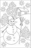 Página con el dibujo blanco y negro del muñeco de nieve para colorear Imagen de archivo