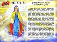 Página cristiana de la idea del calendario de Santa Maria Imagenes de archivo