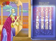 Página cristiana de la idea del calendario de Santo Alexis Foto de archivo libre de regalías