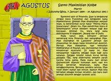 Página cristiana de la idea del calendario de Santo Maximiliano Kolbe Foto de archivo