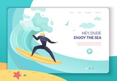 Página da aterrissagem das férias de verão ilustração stock