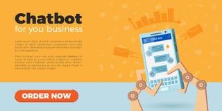 Página da aterrissagem de Chatbot Imagem de Stock