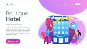Página da aterrissagem do conceito do boutique hotel ilustração royalty free