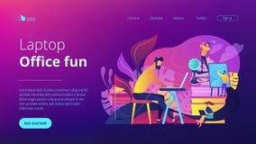 Página da aterrissagem do conceito do divertimento do escritório ilustração stock