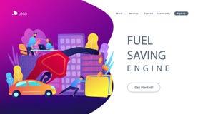Página da aterrissagem do motor da economia do combustível ilustração royalty free