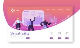 Página da aterrissagem da realidade virtual Bandeira aumentada da realidade com molde liso do Web site dos caráteres dos povos Fá ilustração stock