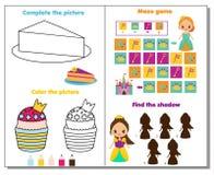 Página da atividade do tema da princesa para crianças Grupo educacional do jogo ilustração royalty free