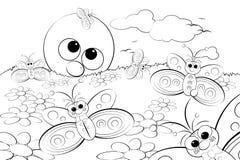 Página da coloração - ajardine com sol e borboletas Imagens de Stock Royalty Free
