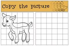Página da coloração Colora-me: cabra Cabra bonito pequena do bebê Foto de Stock