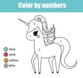 Página da coloração com caráter do unicórnio A cor pelo jogo educacional das crianças dos números, tirando caçoa a atividade Imagem de Stock