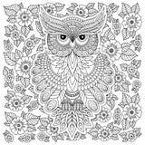 Página da coloração com coruja bonito e quadro floral Foto de Stock