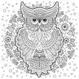 Página da coloração com coruja bonito e quadro floral Imagens de Stock Royalty Free