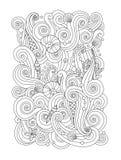 A página da coloração com fundo abstrato do mar acena, shell, corais Composição vertical Imagem de Stock Royalty Free