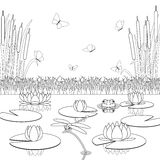 Página da coloração com habitantes e plantas da lagoa fotografia de stock royalty free