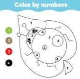 Página da coloração com joaninha Cor pela atividade imprimível dos números ilustração stock