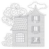Página da coloração da casa ilustração stock