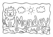 Página da coloração de segunda-feira com leão ilustração do vetor