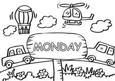Página da coloração de segunda-feira com transporte ilustração stock