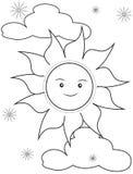Página da coloração de Sun Foto de Stock Royalty Free