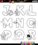 Página da coloração do alfabeto dos desenhos animados Fotografia de Stock Royalty Free
