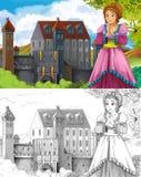 A página da coloração do esboço - conto de fadas do estilo artístico Fotos de Stock Royalty Free