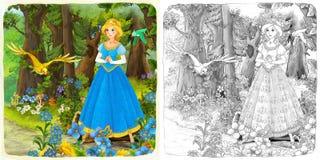 A página da coloração do esboço - conto de fadas do estilo artístico Fotografia de Stock