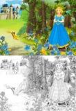 A página da coloração do esboço - conto de fadas do estilo artístico Imagens de Stock Royalty Free