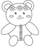 Página da coloração do urso de peluche Fotografia de Stock