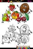 Página da coloração dos desenhos animados do grupo dos frutos Fotos de Stock Royalty Free