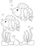 Página da coloração dos peixes ilustração stock