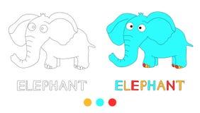 A página da coloração para crianças com elefante e a mão tiram letras ilustração royalty free