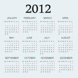 página de 2012 calendários um Foto de Stock Royalty Free