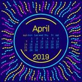 2019 Página de April Calendar en el cartel del estilo de Memphis para el diseño de la tipografía del concepto, color plano Comien Fotografía de archivo libre de regalías