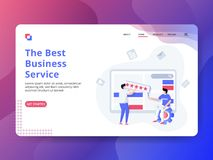 Página de aterrissagem os melhores serviços a empresas ilustração royalty free