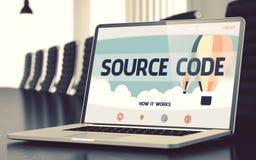 Página de aterrizaje del ordenador portátil con concepto del código fuente 3d Fotografía de archivo
