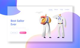 Página de Characters Website Landing del marinero nautical ilustración del vector