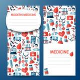 Página de cubierta con símbolos de la medicina Imágenes de archivo libres de regalías