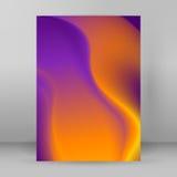 Página de cubierta púrpura amarilla borrosa de la disposición del fondo A4 Imágenes de archivo libres de regalías