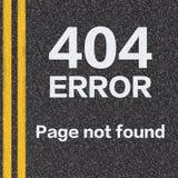 página de 404 errores no encontrada en la carretera de asfalto Fotos de archivo libres de regalías