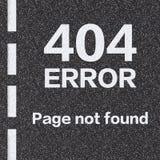 página de 404 errores no encontrada en la carretera de asfalto Foto de archivo libre de regalías