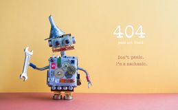 página de 404 erros não encontrada Chave inglesa ajustável dos alicates do trabalhador manual do robô no fundo vermelho amarelo C Imagens de Stock